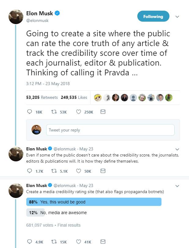 توییت ایلان ماسک درباره اعتبار سنجی رسانه ها و مقابله با اخبار دروغ